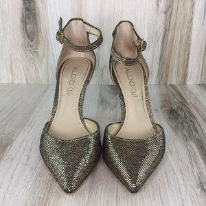 Aldo Gold Pointy Toe Heels
